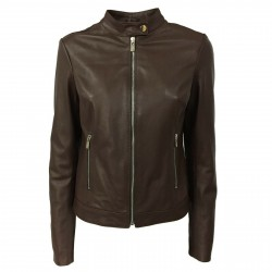 BLUSOTTO woman dark brown leather jacket with zip art WOMAN 100% leather MADE IN ITALY