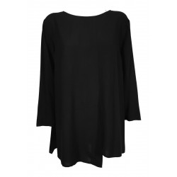 JO.MA blusa donna asimmetrica nera manica lunga art TR20 310 MADE IN ITALY