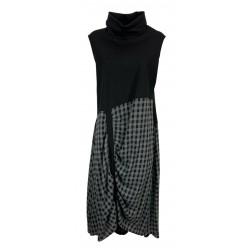 JO.MA abito donna bimateriale jersey pesante nero+tessuto quadri grigio TR20 306 MADE IN ITALY