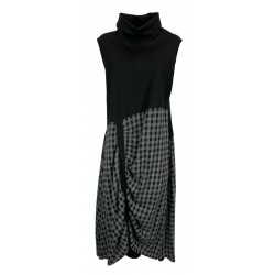 JO.MA women's bi-material heavy jersey black dress + gray checked fabric TR20 306 MADE IN ITALY