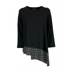 JO.MA blouse woman black bi-material heavy jersey + gray square fabric art TR20 315 MADE IN ITALY