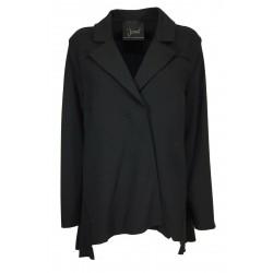 JO.MA giacca donna felpa garzata nera bottoni automatici asimmetrica TR20 098 MADE IN ITALY