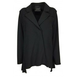 JO.MA women's black brushed fleece jacket asymmetrical snap buttons TR20 098 MADE IN ITALY