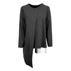 JO.MA woman anthracite blouse asymmetrical milano stitch art TR20 296 MADE IN ITALY