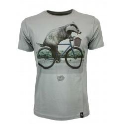 DIRTY VELVET Gray man t-shirt mod BIKER BADGER DV76901 100% organic cotton