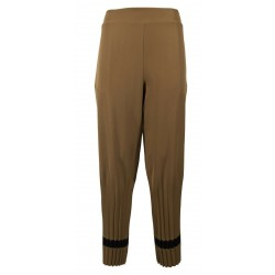 MOUSSE women's trousers elastic waist camel black details AM301C MADE IN ITALY