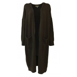 HUMILITY 1949 long cardigan woman without buttons brown HB2121 MADE IN ITALY