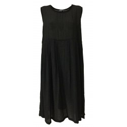 NEIRAMI black sleeveless woman dress with cut at the waist DS1121-20 POLCA MADE IN ITALY