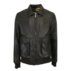 BLUSOTTO brown leather man jacket with zip art TOM MADE IN ITALY