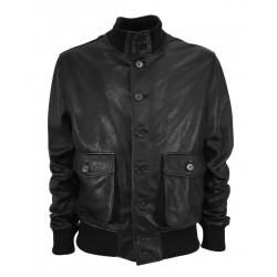 BLUSOTTO black leather man jacket art MATS 100% leather MADE IN ITALY