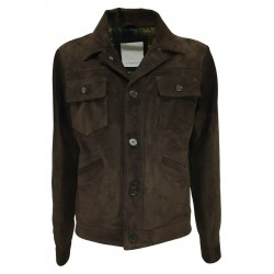 BLUSOTTO dark brown suede man jacket art PAUL 100% leather MADE IN ITALY