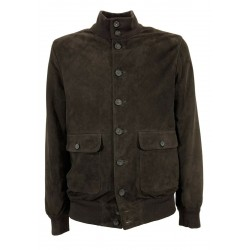 D'AMICO men's black suede jacket with lined buttons art DHU0371 FULTON 100% leather