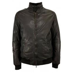 D'AMICO brown padded man jacket with zip art DGU0374 NEW FREDD