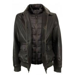 D'AMICO brown padded winter jacket with detachable bib DGU0367 RICKY