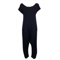 THIPO woman jumpsuit dropped sleeves blue over heavy jersey MADE IN ITALY CONSTRUCTED JUMPSUIT