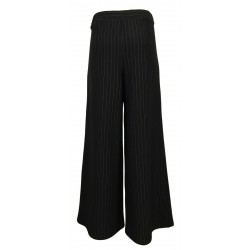 THIPO black pinstripe heavy jersey woman trousers art OVER MADE IN ITALY
