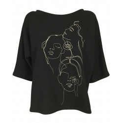 THIPO black cotton woman sweatshirt with ecru embroidery art PARABOLA MADE IN ITALY