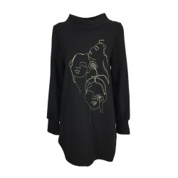THIPO asymmetric woman sweatshirt art SBUFFO black long sleeve cotton MADE IN ITALY