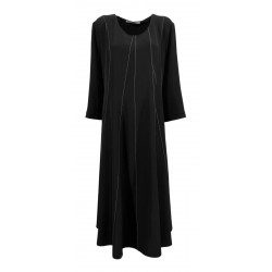 MOUSSE woman long sleeve black dress with flared crew neck art AM601C MADE IN ITALY