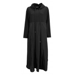 JO.MA woman black heavy jersey dress + taffettas D1 2473 MADE IN ITALY