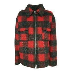 FRONT STREET 8 red / black squared jacket with silver spray FR240 MADE IN ITALY