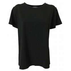 NEIRAMI maxi t-shirt BLACK woman half sleeve art TS1153-20 JERSEY MADE IN ITALY