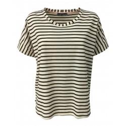 NEIRAMI ecru / bark striped woman t-shirt over TS1181-20 STRIPE MADE IN ITALY