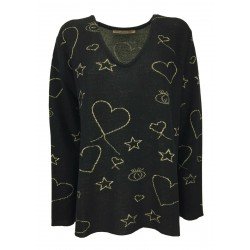MOUSSE woman over black sweater with gold designs art AM 103 V MADE IN ITALY