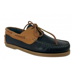 UPPER CLASS unlined two-tone blue / leather boat shoe 02 / INS CALF BLEU/ LAMA CUOIO BOTTOM BOAT MADE IN ITALYY