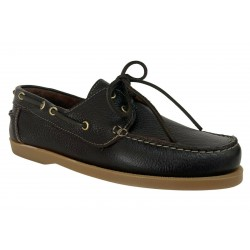 UPPER CLASS man boat shoe brown hammered leather unlined 02 / INS LAMA MADE IN ITALY
