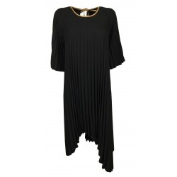 MOUSSE woman black dress asymmetrical pleated over art AM608C MADE IN ITALY