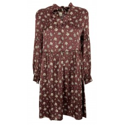 ETICI long-sleeved dress with burgundy flowers pattern art A1 / 2642 MADE IN ITALY