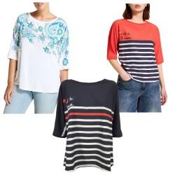 MARINA SPORT by Marina Rinaldi t-shirt woman bi-material jersey + fabric VAGLIE
