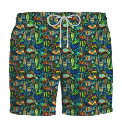 ZEYBRA Black crayon Fishes swimsuit 100% polyester MADE IN ITALY AUB023