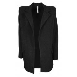 BE LIMOUSINE giacca donna lunga senza bottoni nero lurex art LB137L MADE IN ITALY
