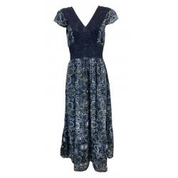 MAISON HOTEL long light blue woman dress with lined flounce VINA FANTASIA 100% viscose