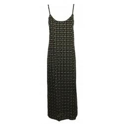 MAISON HOTEL woman dress shoulder straps fantasy black / ecu / mustard art BELLA SAVANA