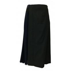 TELA skirt woman black / blue bimaterial mod OSTIN black fabric MADE IN ITALY