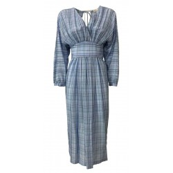 TELA abito donna con cintura in vita a quadri celeste KANSAS MADE IN ITALY