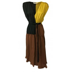 TELA woman crossover dress dark brown / black / yellow mod FANTE MADE IN ITALY