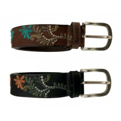 D'AMICO men's belt embroidered with zamak buckle height 3.5 cm art ACU2789 VINTAGE LEATHER 100% leather MADE IN ITALY