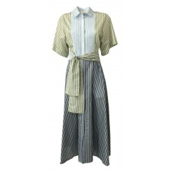 TELA woman patchwork dress with flared stripes mod POLIEDRICO MADE IN ITALY