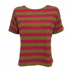 EMPATHIE t-shirt donna cotone a righe verde/fuxia art S21020 MADE IN ITALY