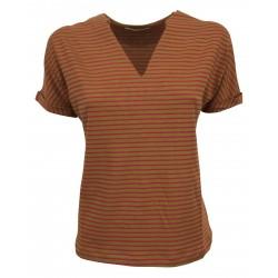 EMPATHIE t-shirt donna mezza manica cotone righe verdi/fuxia scollo v art S21021 MADE IN ITALY