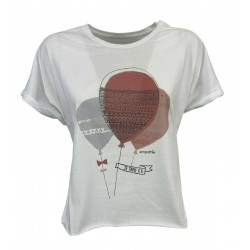 EMPATHIE T-shirt donna bianca manica scesa mod S2100204 100% cotone MADE IN ITALY