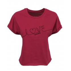 EMPATHIE T-shirt donna ciclamino manica scesa mod S2100201 100% cotone MADE IN ITALY