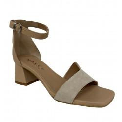 MALLY sandalo donna beige camoscio/pelle art 7087 100% pelle MADE IN ITALY