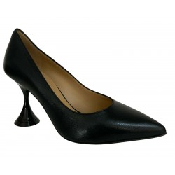 WO MILANO décolleté woman black heel 9 cm Q18 100% leather MADE IN ITALY
