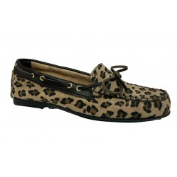 UPPER CLASS moccasin woman unlined animal print overturned calf art 103 / A CASTORO LEOPARDO MADE IN ITALY