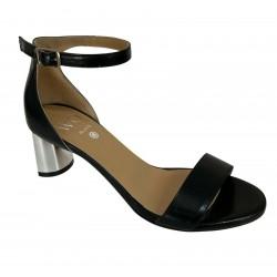 WO MILANO sandalo donna nero art 351 100% pelle MADE IN ITALY